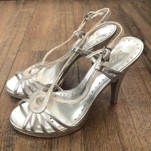 BCBG Paris Silver Strappy High Heel Formal Shoes